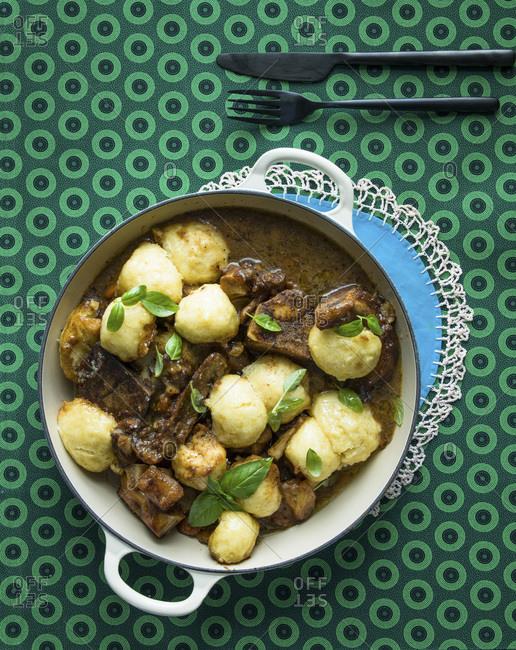 Beef Stew with dumplings, top view