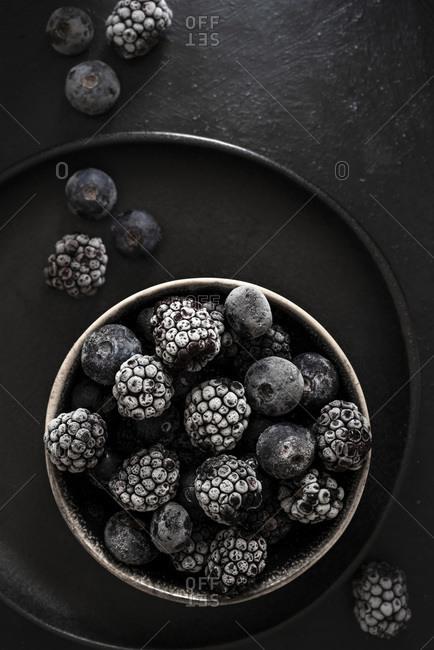 Frozen Blackberries and Blueberries, top view