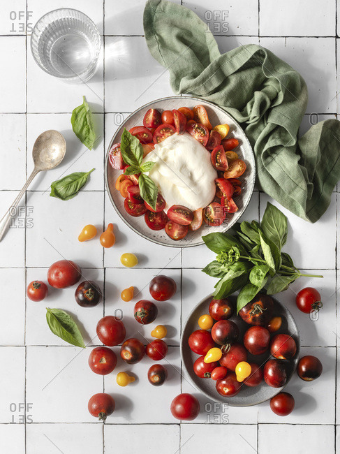 Tomato salad with burrata, top view