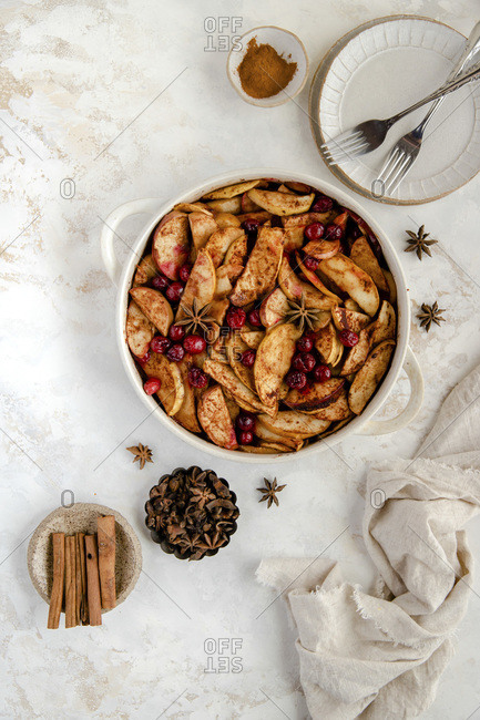 Baked apple and cranberry dessert.