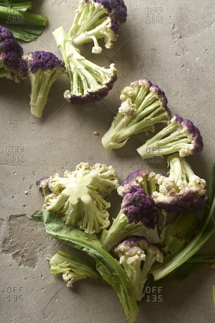Flatlay with purple cauliflower florets