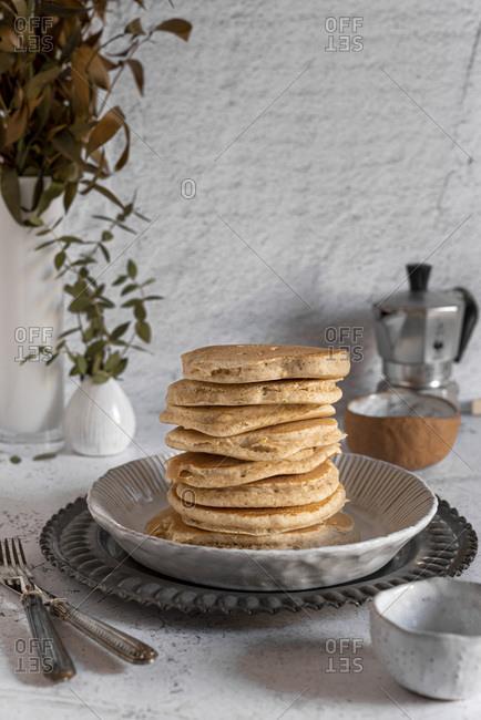 Stack of whole wheat vegan pancakes