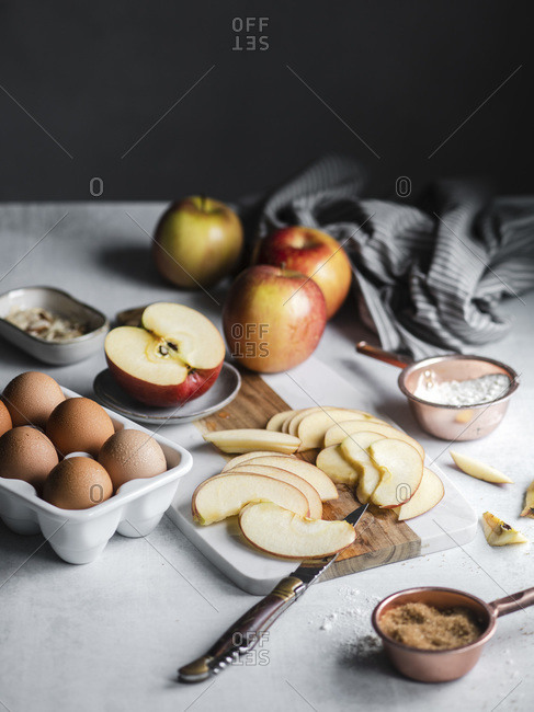Baking with apples, eggs and flour