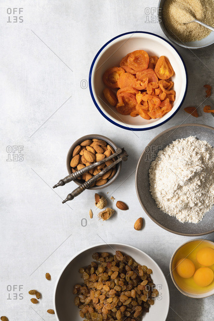 Ingredients for a healthy fruit cake.