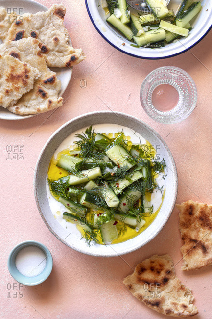Spiced cucumber salad with yogurt and herbs