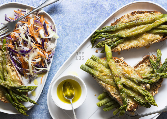 Toasted cheese and asparagus on sourdough with rainbow salad.
