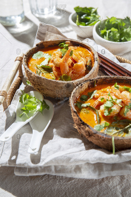 Thailand tradition red curry soup with shrimps prawns and coconut milk. Panaeng Curry
