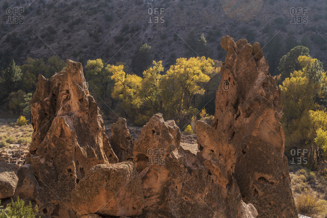 USA, New Mexico, Bandelier National Monument, Rock formations in Bandelier National Monument