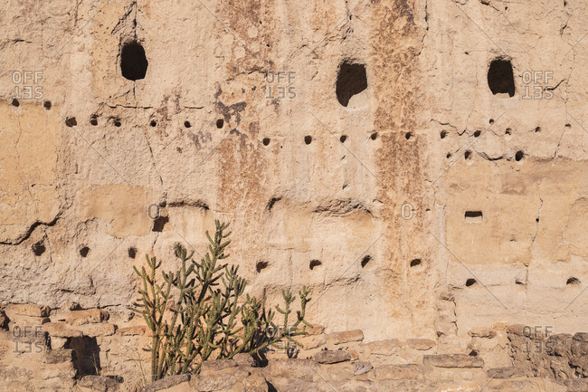 USA, New Mexico, Bandelier National Monument, Cliff dwellings in Bandelier National Monument
