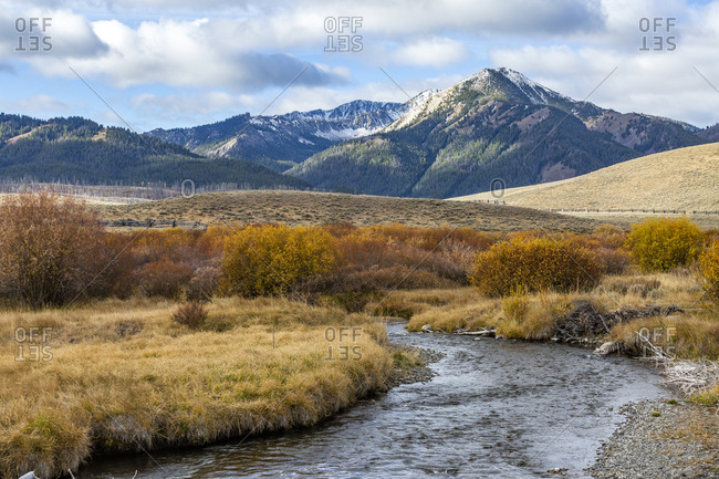 USA, Idaho, Stanley, Landscape with stream and mountains