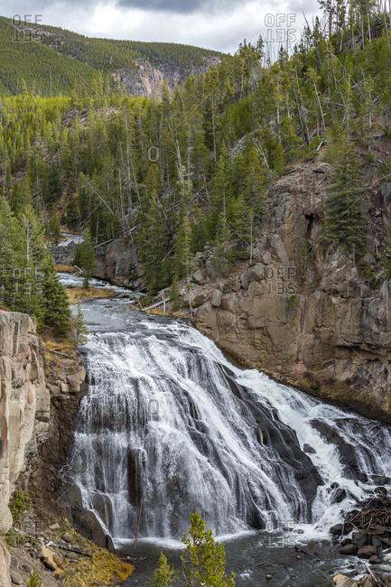 USA, Wyoming, Yellowstone National Park, Gibbon Falls on the Gibbon River in Yellowstone National Park