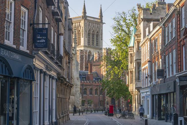 April 21, 2020: Trinity Street, St. John's College, Cambridge, Cambridgeshire, England, United Kingdom, Europe