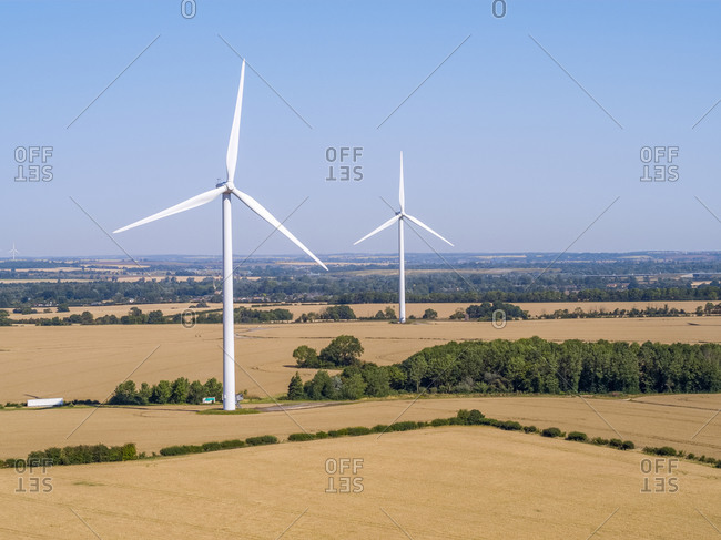 Drone view of Cotton Farm Wind Farm, Cambridgeshire, England, United Kingdom, Europe