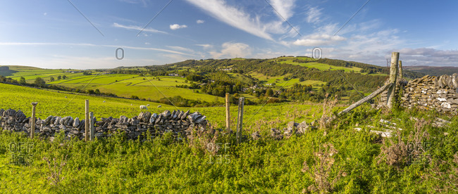 View of dry stone wall and Coombs Dale toward Stoney Middleton, Calver, Derbyshire Peak District, Derbyshire, England, United Kingdom, Europe