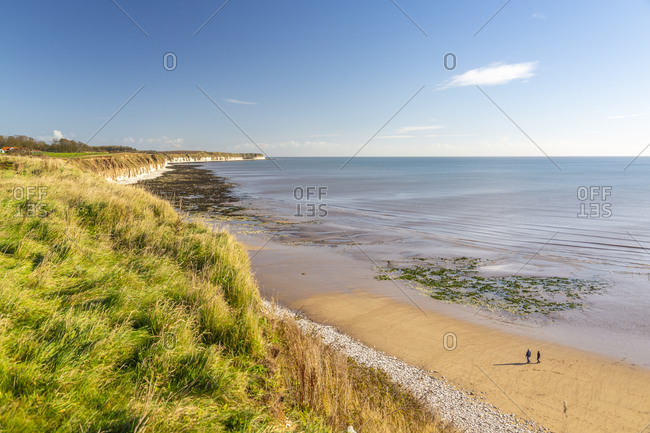 November 4, 2020: View of Flamborough Head from North Beach shoreline, Bridlington, North Yorkshire, England, United Kingdom, Europe