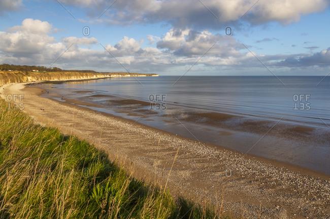 View of Flamborough Head from North Beach shoreline, Bridlington, North Yorkshire, England, United Kingdom, Europe