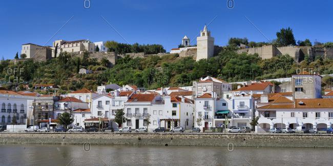 September 25, 2020: Alcacer do Sal Castle and promenade along the Sado River, Lisbon coast, Portugal, Europe