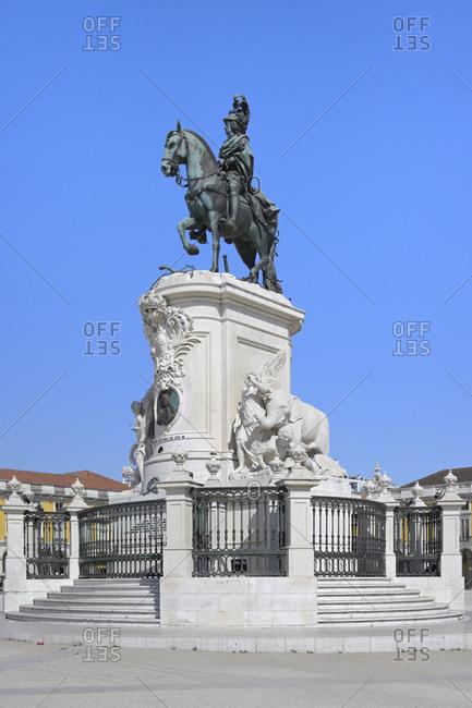 August 5, 2020: King Jose I equestrian statue, Praca do Comercio, Baixa, Lisbon, Portugal, Europe