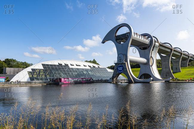 September 19, 2020: Falkirk Wheel rotating boat lift, Falkirk, Scotland, United Kingdom, Europe