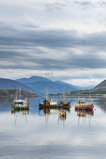 September 15, 2020: Fishing boats, Bay of Ullapool, Ross and Cromarty, Highlands, Scotland, United Kingdom, Europe