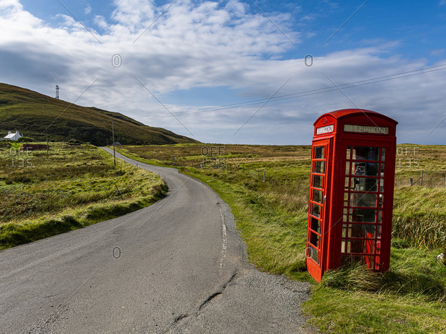 September 17, 2020: Remote red phone booth, Isle of Skye, Inner Hebrides, Scotland, United Kingdom, Europe