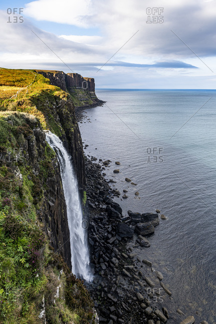 Kilt Rock and Mealt Falls Viewpoint, Isle of Skye, Inner Hebrides, Scotland, United Kingdom, Europe