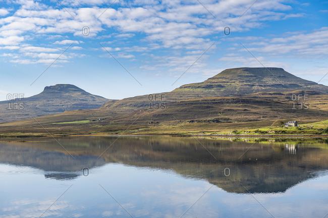 Water reflections on Lake Dunvegan, Isle of Skye, Inner Hebrides, Scotland, United Kingdom, Europe