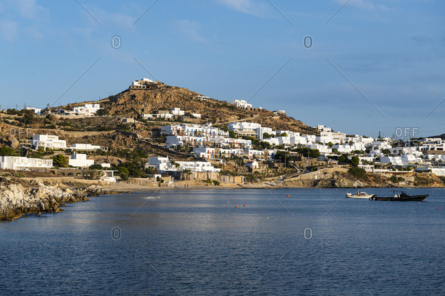 White washed houses over Agios Ioannis Beach, Mykonos, Cyclades, Greek Islands, Greece, Europe