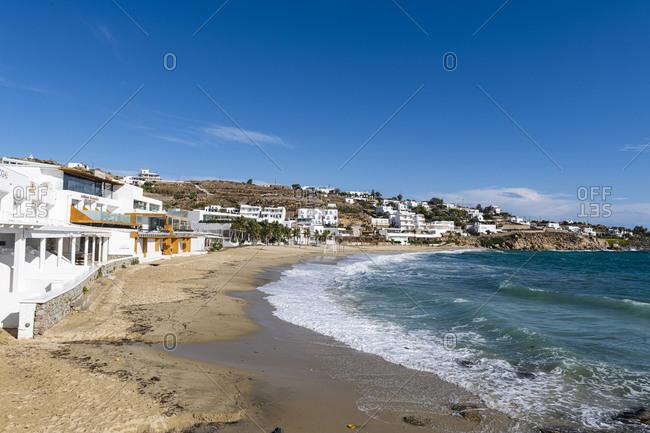 October 28, 2020: Paralia Platis Gialos beach, Mykonos, Cyclades, Greek Islands, Greece, Europe