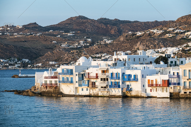 October 26, 2020: Little Venice at sunset, Horta, Mykonos, Cyclades, Greek Islands, Greece, Europe
