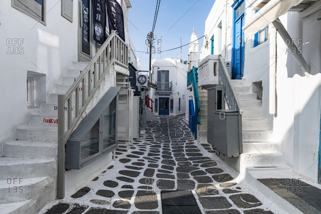 October 27, 2020: The white washed old town of Horta, Mykonos, Cyclades, Greek Islands, Greece, Europe