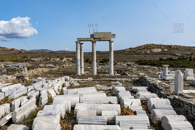 October 27, 2020: Delos, UNESCO World Heritage Site, near Mykonos, Cyclades, Greek Islands, Greece, Europe