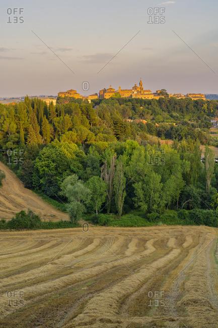 Corinaldo at sunset, Marche, Italy, Europe