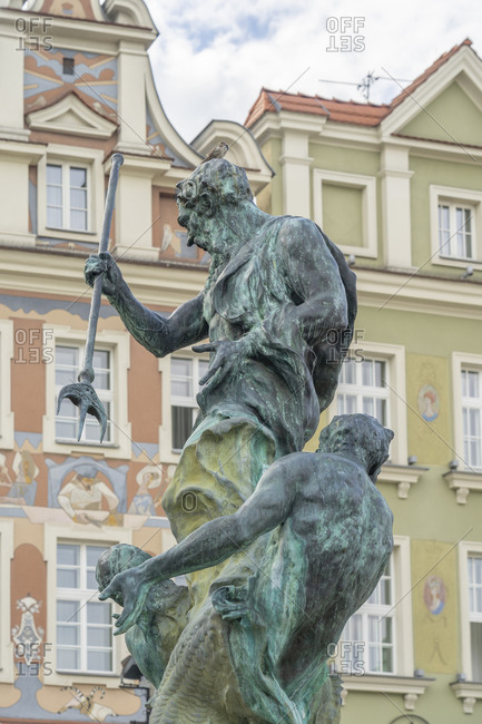 August 24, 2020: Fountain of Neptune, Old Town Square, Poznan, Poland, Europe