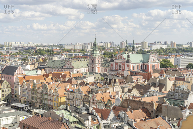 August 25, 2020: Elevated view over the Old Town, Poznan, Poland, Europe