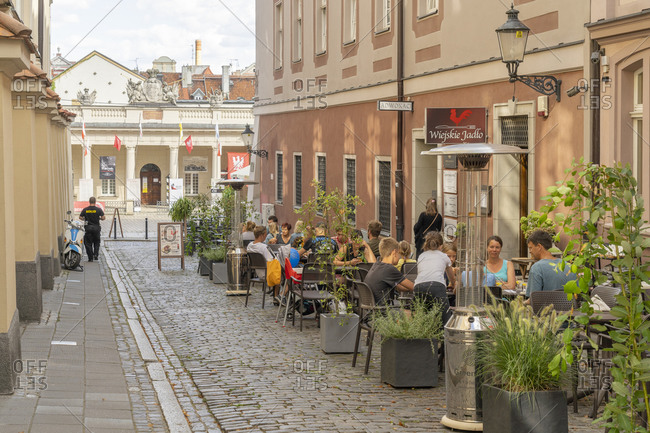August 25, 2020: Cafe scene, Old Town, Poznan, Poland, Europe