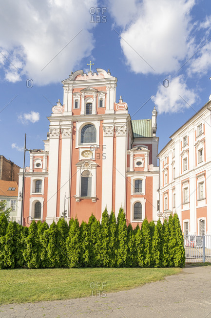 August 25, 2020: Frederic Chopin Park and the Jesuit College, Old Town, Poznan, Poland, Europe
