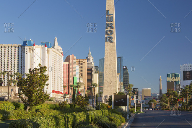 October 15, 2017: View along The Strip, early morning, replica Egyptian obelisk outside the Luxor Hotel and Casino, Las Vegas, Nevada, United States of America, North America