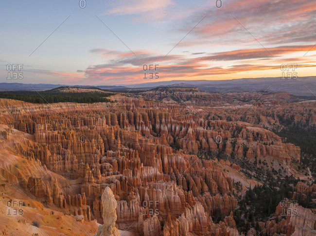 View over the Silent City from the Rim Trail at Inspiration Point, dawn, Bryce Canyon National Park, Utah, United States of America, North America