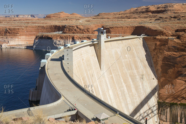 October 28, 2017: Glen Canyon Dam on the Colorado River, Lake Powell, Glen Canyon National Recreation Area, Page, Arizona, United States of America, North America