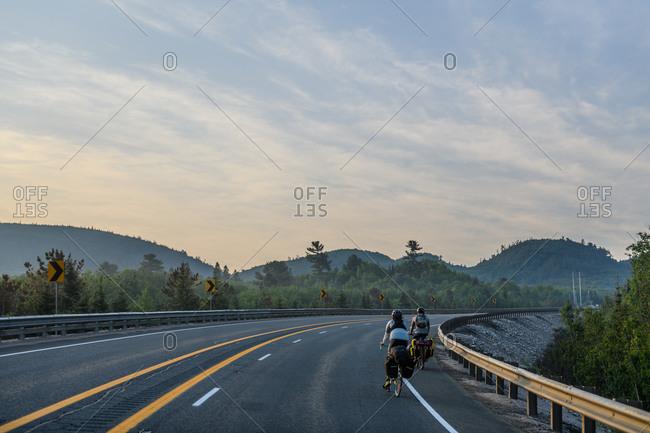 Cyclists on road, Ontario, Canada