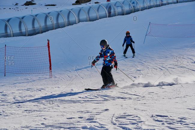 Children skiing at Formigal, Spain