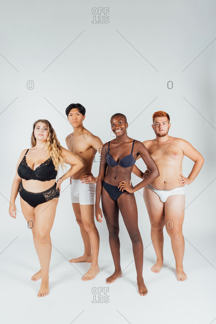 Four confident young people, wearing underwear