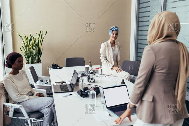 Businesswomen working together in an office
