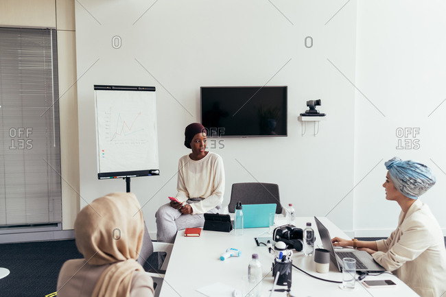 Businesswomen discussing work in the office