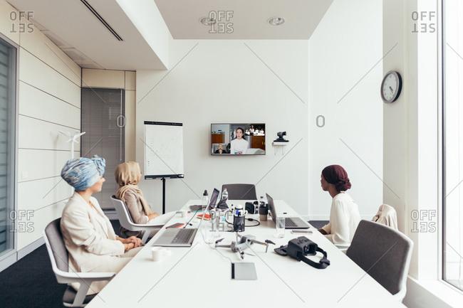 Businesswomen on a video call