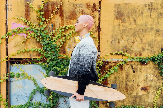Side view portrait of a skateboarder