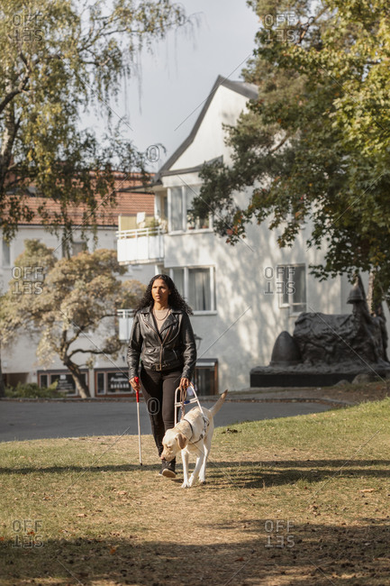 Visually impaired woman walking on lawn with guide dog