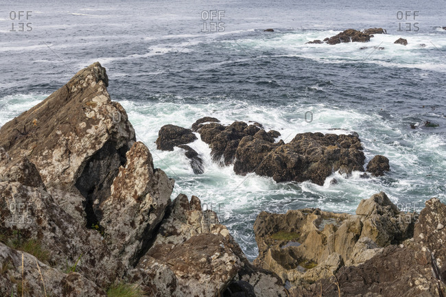 Rugged landscape along the Wild Pacific Trail of Ucluelet on the west coast of Vancouver Island, British Columbia, Canada