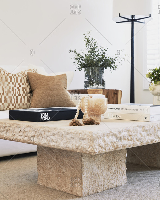 Studio City, California - January 3, 2021: Textured coffee table in a modern condo living room